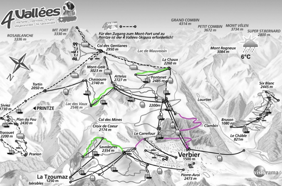 Verbier and Zermatt pistes map tweaked for the beginner Snowboarder